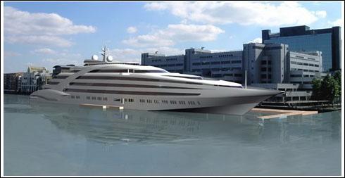 巨型游轮_巨型游艇停靠泰晤士河畔的想象图.