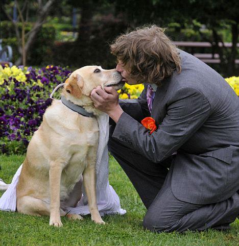 """令人驚奇 澳大利亞男子與愛犬成婚 稱與""""性""""無關(組圖)"""