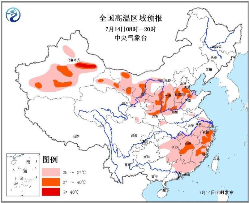 华北江南等地有高温 黄淮四川等地将有较强降雨