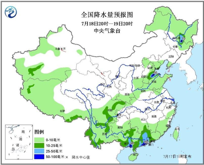全国降水量预报图(7月18日20时-19日20时)