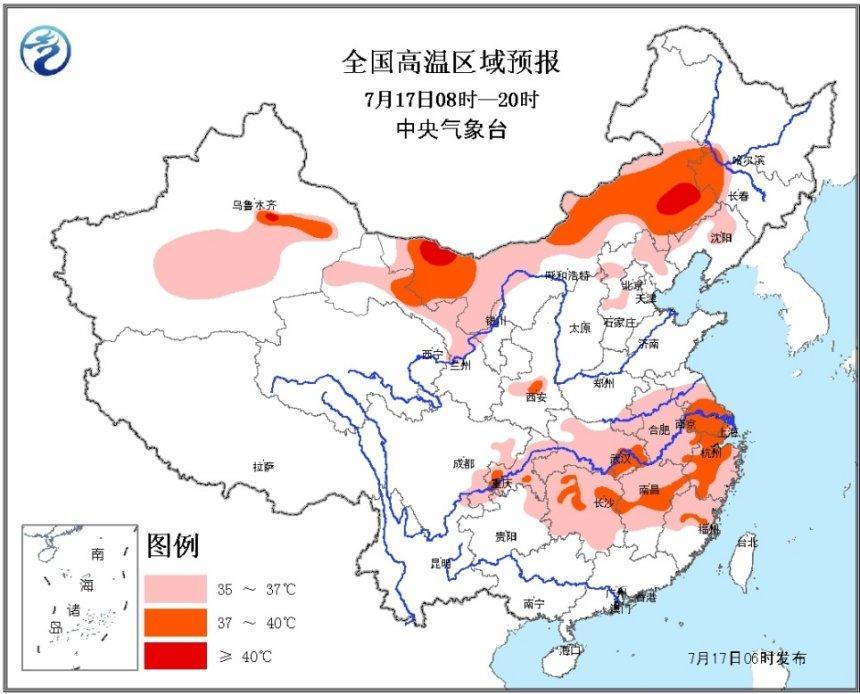 中央气象台继续发仁者黄飞鸿粤语布高温橙色预警 局地超40℃