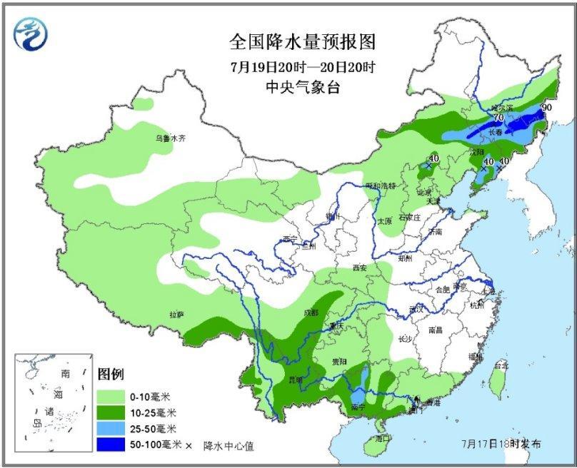 全国降水量预报图(7月19日20时-20日20时)