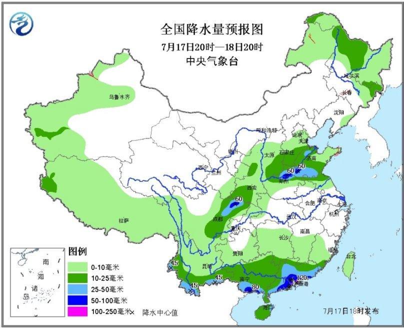 全国降水量预报图(7月17日20时-18日20时)