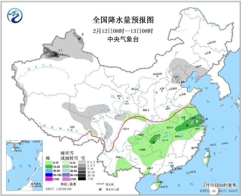 冷冷冷!中东部有大领域雨雪 南方多阴雨天气