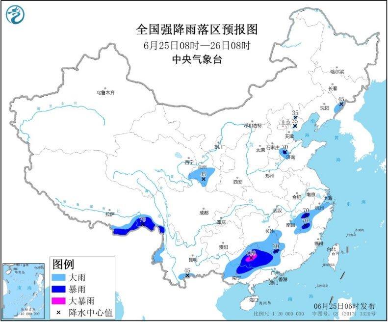 广西至江南一带有强降雨 华北东北等地多对流性天气