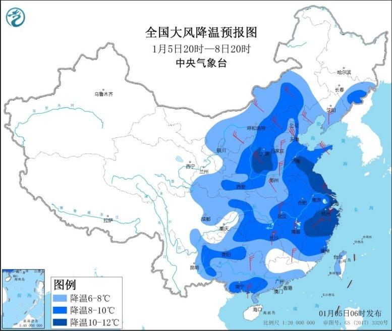 寒潮天气将影响中东部 部分地区降温幅度可达